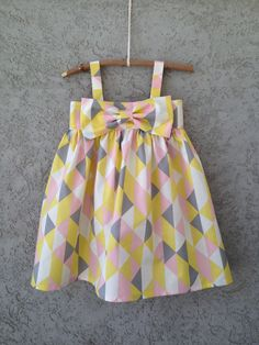 Perfect Fresh + Modern Girl Dress from Dream Catcher Baby...look at her other fabrics...and her little boys bow ties...SEW cute!