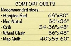 Charity quilt sizes, either crochet or quilting