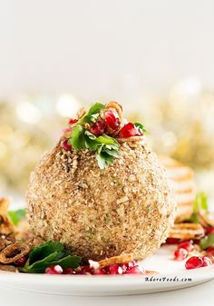This Maple Roasted Pecan Cheese Ball is so easy to make! Creamy with a touch of jalapeño and spring onions, served with pomegranate and some fried shallots…absolutely divine!