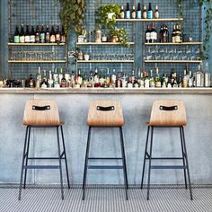 The Lecture Bar Stool is a modern reinterpretation of a classic elementary school chair design, adapted for bar height use. Click the link for the deets! Back Bar Design, Bar Counter Design, Lounge Design, Chair Design, Cafe Bar Counter, Modern Counter Stools, Bar Stools, Design Bar Restaurant, Modern Cafe