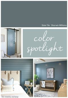 Sherwin Williams Slate Tile: Color Spotlight We're highlighting the versatile ways that Sherwin Williams Slate Tile can work as a great accent paint color through a home on cabinetry, accent walls and doors. Bedroom Paint Colors, Interior Paint Colors, Paint Colors For Home, House Colors, Bathroom Paint Colours, Paint Colors For Basement, Magnolia Paint Colors, Basement Color Schemes, Indoor Paint Colors
