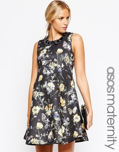 ASOS Maternity Skater Dress in Floral Print with Embellished Collar
