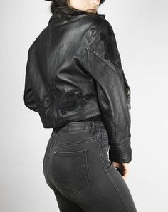 Schwarze Lederjacke mit Paisley Futter - Black leather jacket with Paisley lining zPfPqvc