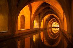 cistern under the Real Alcazar palace in Sevilla, Spain
