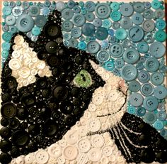 – – ——-Tuxedo cat——- – – buttons/beads on canvas SOLD – – ——-Tuxedo cat——- – – buttons/beads on canvas SOLD Button Art Projects, Button Crafts, Craft Projects, Recycled Art Projects, Cat Crafts, Arts And Crafts, July Crafts, Kitten Baby, Jewelry Crafts
