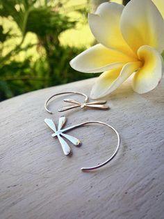 Silver Dragonfly earrings Silver threader earrings Dragonfly