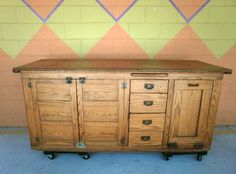 Antique American Country Pine General Store Grocer's Counter Cabinet. This is Kitchen Island/Prep Station