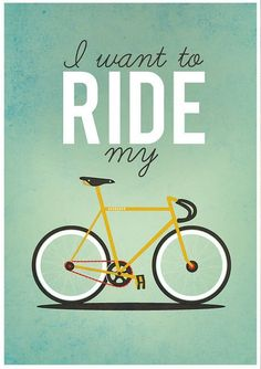 I want to Ride my Bicycle - Poster by Milli-jane Pooley, via Behance Bycicle Illustration, Bycicle Art Cycling Art, Cycling Bikes, Cycling Jerseys, Tandem Bikes, Triathlon Ironman, Bullitt Bike, Creative Typography Design, Velo Vintage, Vintage Bicycles