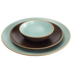 Heath Ceramics Coupe Aqua/Chocolate Brown 3-Piece Place Setting. $79