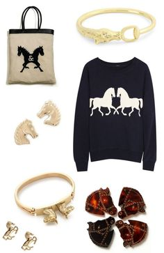 I have the jumper in grey with navy horses. Love the bag & stirrup bracelet.