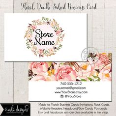 Business Card, 2 Sided, Watercolor Wreath Business Card, Double Sided Calling Card, Boutique Business Card, Made to Match Designs Available