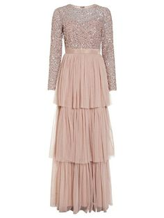 Delicate Sequin Tiered Maxi Dress
