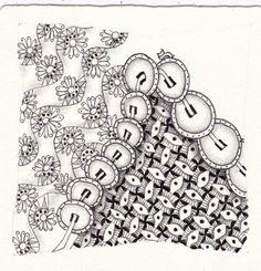 Ein Zentangle aus den Mustern Sunflower, Yuan, Curtain,  gezeichnet von Ela Rieger, CZT