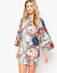 ASOS T-Shirt Dress with Kimono Sleeves in Floral Print   This would look awesome with some hoops!