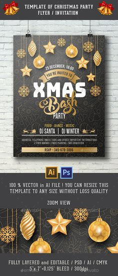 Template For Christmas Flyer Party Invitation Design Template - Clubs & Parties Events Flyer Design Template PSD, AI Illustrator. Download here: https://graphicriver.net/item/template-for-christmas-party-invitation/18830136?ref=yinkira