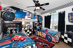 Delight your kids with a NASCAR bedroom in this vacation home in Kissimmee, FL