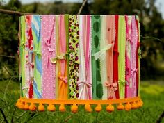 Fabric Remnant Lampshade, would love to do this in the girls' room and clip bows to it