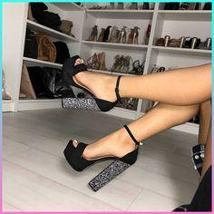 @STYLESTONED black platform heels / ankle strap / women's summer shoes / glitter heels