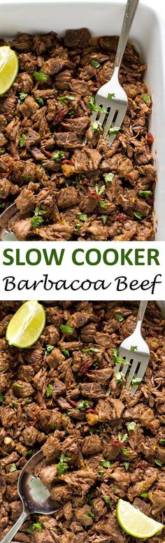 Melt in your mouth Slow Cooker Barbacoa Beef. Cooked low and slow for 8 hours! Perfect for tacos, burritos and quesadillas