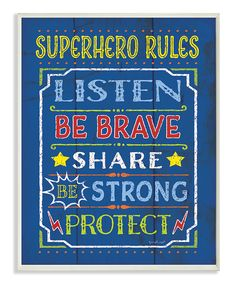 This Blue 'Superhero Rules' Typography Wall Sign by The Kids Room by Stupell is perfect! #zulilyfinds