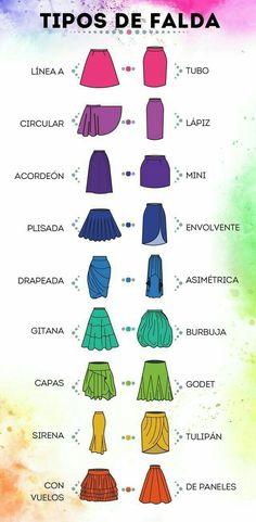 Tipos de faldas y como utilizarlas. Sewing Clothes, Diy Clothes, Fashion Clothes, Fashion Outfits, Womens Fashion, 70s Fashion, Trendy Fashion, Fashion Design Sketches, Fashion Drawings