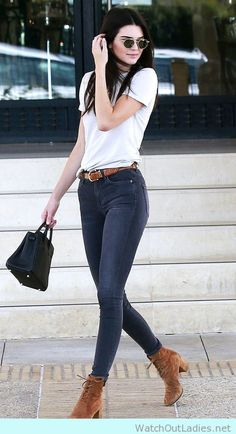 Kendall Jenner in jeans and tan brown booties