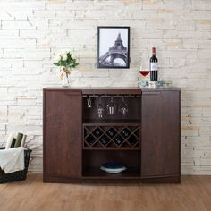 Im here to help you decorate your wine bar! Wine bars are so much fun! But decorating a wine bar could get you in to trouble with clu Built In Wine Rack, Wine Rack Storage, Kitchen Storage, Sideboard Table, Dining Buffet, Wood Buffet, Contemporary Wine Racks, Contemporary Style, Dining Room Corner