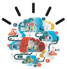 networked clouds, big data #illustration #infographic