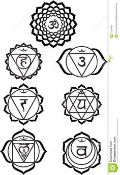 Chakra Symbols Black and White