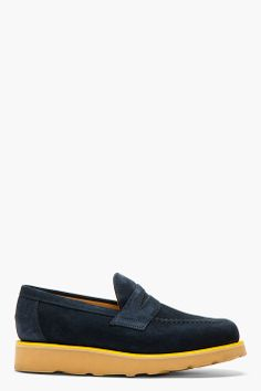 MARK MCNAIRY Navy Suede PENNY LOAFERs