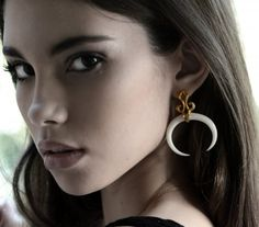Jungle Bone Carved Gold Plated earrings by Bahagia
