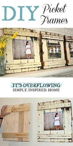 DIY Picket Frame Tutorial - Easy and SO Cute! @ItsOverflowing.com.com.com.com.com.com.com.com.com.com.com.com