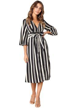 4ecd1134a7b Cheap Black Gap Striped V Neck Midi Shirt Dress only US  9.78