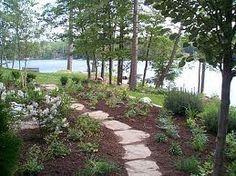 lake garden - Google Search Lake Garden, Stone Work, Garden Gates, Cacti And Succulents, Garden Landscaping, Shrubs, Perennials, Stepping Stones, Backyard
