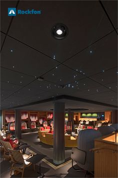 Uppsala University has created perfect study surroundings by using dark tones from our Colours of Wellbeing. They have made a calm and starry atmosphere with Rockfon Color-all ceiling tiles to provide the best sound control for students to concentrate. Want to know more - click on the image. #SoundsBeautiful #coloursofwellbeing #darkceiling #starceiling #ceilingwithstars #rockfonceiling #acousticceiling #soundcontrol Dark Ceiling, Ceiling Tiles, Uppsala University, Dark Colors, Colours, Acoustic, Students, Calm, Study