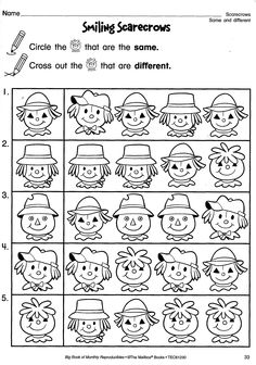 Fall Reproducible Page - Smiling Scarecrows for practicing same and different.     Want skill-builders for every month of the year in ONE resource? The Big Book of Monthly Reproducibles series is your answer! Check out the grade-specific issues at http://store.oblockbooks.com/search.php?search_query=%22big+book+of+monthly+reproducibles%22=0=0