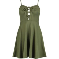 Boohoo Petite Amelia Lace Up Detail Skater Dress | Boohoo (240 MXN) ❤ liked on Polyvore featuring dresses, lace front dress, boohoo dresses, laced dress, petite dresses and green skater dress