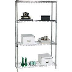 Buy Argos Home Heavy Duty 4 Tier Metal Shelving Unit - Chrome Metal Shelving Units, Metal Bookcase, Ladder Bookcase, Bookcases, Plate Shelves, Chrome Plating, Adjustable Shelving, Living Room Furniture, Home And Garden
