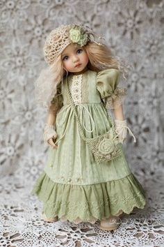 """Outfit handmade for doll 13"""" in the style boho :  *dress, *underskirt,  *underpants, *stockings, *knitted socks,  *beret, *mittens,  *handbag,  *shoes. Clothes for #Little_Darling #Outfitfordoll Dress with lace Boho dress Dianna Effner #Dress_for_doll 13"""" Clothes for dolls"""