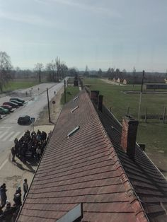 Auschwitz Birkenau (Gate), view of Birkenau from the tower and the gate looking at the camp and the gate area. Photo by Auschwitz Study Group member Jaroslaw Fiedor