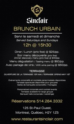 Plan ahead for your weekend #brunch at #RestaurantSinclair! #French #Cuisine @hotelStSulpice