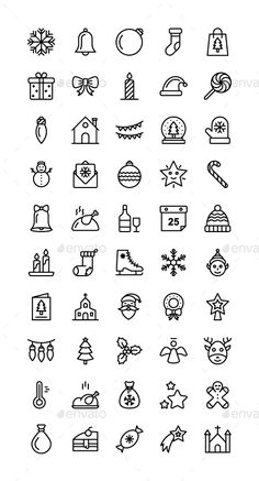 Buy Christmas Icons by mousar on GraphicRiver. Christmas Icons Set of 45 vector Christmas Icons. Bullet Journal Christmas, Bullet Journal Notes, Bullet Journal Ideas Pages, Bullet Journal Inspiration, Mini Drawings, Cute Easy Drawings, Doodle Drawings, Doodle Art For Beginners, Easy Doodle Art