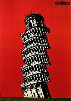 Japanese Poster: Self-Defense. Shigeo Fukuda. 1974 | Gurafiku: Japanese Graphic Design