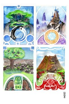 Water, Air, Earth, Fire Creatures and Scapes- 12x18 poster
