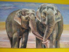 Elefantes. Acrílico Arte Sketchbook, Elephant, Elephants, Couples, Paintings, Animales, Drawings