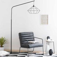 Staande lamp, zwart metaal, hoogte 193 cm, ORIGAMI | Maisons du Monde