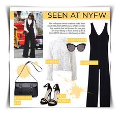 """""""Seen at NYFW: jumpsuit"""" by dudubags ❤ liked on Polyvore featuring DUDU, MANGO, Alexis, Blanc & Eclare and Nly Shoes"""