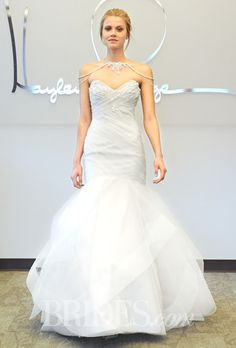 "Brides.com: Hayley Paige - Fall 2014. Style 6460, ""Aurora"" strapless tulle trumpet wedding dress with a beaded sweetheart bodice and a draped crystal bolero, Hayley Paige"