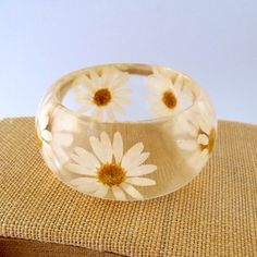 Daisy Resin Bangle.  Pressed Daisies by SpottedDogAsheville, $44.00
