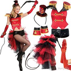 Cirque du Sexy! Crack the whip as a circus ringmaster in show-stopping accessories like a red vest with epaulets and sequined boy shorts ove...